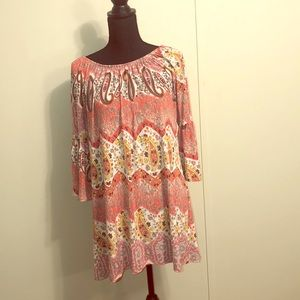 Pretty large coral bell-sleeved tunic